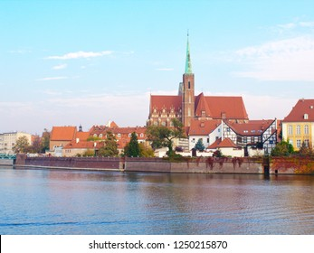 View on the Cathedral of St. John the Baptist in Wrocław and river Odra