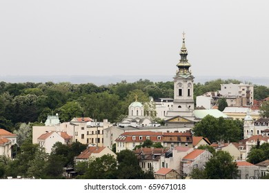 View on the centar of city Belgrade and Saborna church