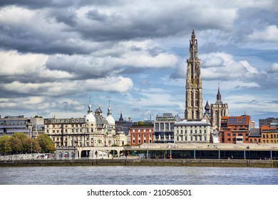 View on center of Antwerpen from othe side of river Schelde in cloudy day