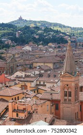 View on the Center of Bologna, Emilia Romagna, Italy, including the Sanctuary of the Madonna di San Luca on the hill in the distance.