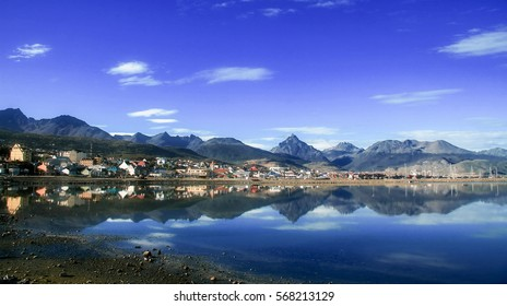 View on the Center of Ushuaia, Tierra del Fuego, Argentina