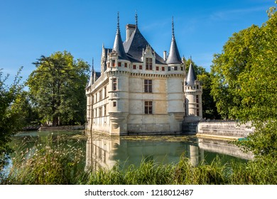 View on Chateau d'Azay-le-Rideau at sunny afternoon, Loire valley, France.