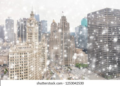 View on the Chicago downtown and skyscrapers in the winter snowfall, Illinois, USA