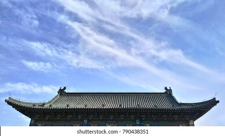 the view on chinese ancient roof in sunny day