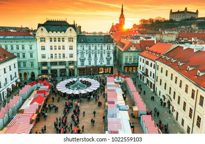 View on Christmas market on the Main square in Bratislava, Slovakia
