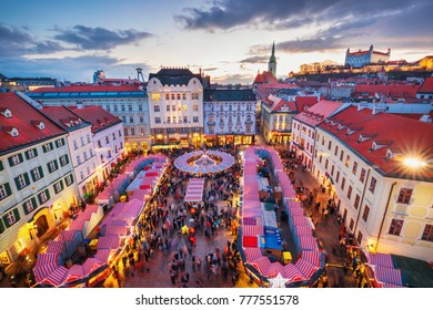 View on Christmas market on the Main square in Bratislava,Slovakia