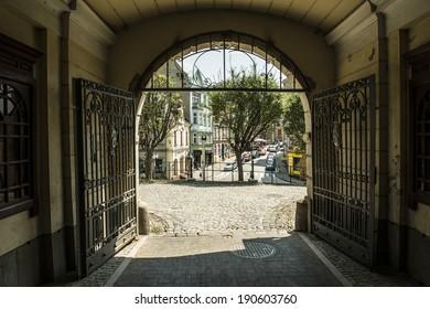 View on Cieszyn, Poland, from castle gates