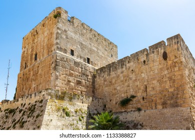 View on citadel inside old city walls of Jerusalem