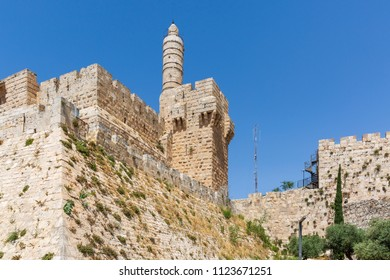 View on citadel and Tower of David, at the old city walls of Jerusalem