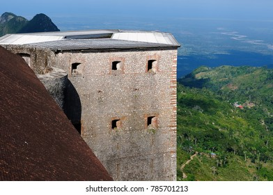 The view on the Citadelle la ferriere fort and  valley near Cap Haitien, Haiti.