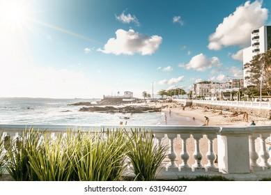 view on city beach in Salvador da Bahia
