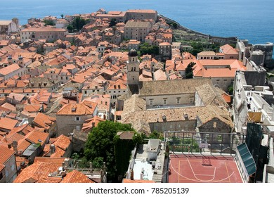 View on the city from Old City Walls in the ancient town of Dubrovnik, Croatia. Dubrovnik is a UNESCO World Heritage site