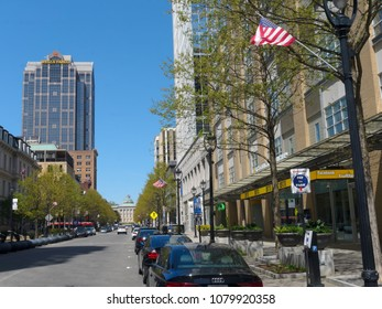 View on city of Raleigh, the capital of the state of North Carolina - April 2018. Raleigh is highly ranked as one of the best places to live in the U.S.