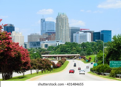 View on city of Raleigh, the capital of the state of North Carolina - July 2015. New building additions to Raleigh's skyline. Raleigh is highly ranked as one of the best places to live in the U.S.