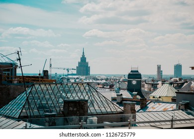 View on city rooftops in warm summer day.