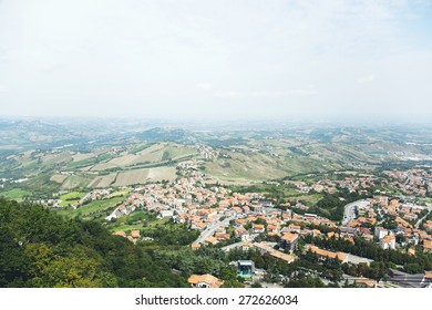 view on the city from the top of San Marino, Italy