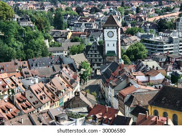 View on a city tower of Freiburg, Germany