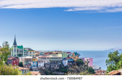 View on cityscape of colorful city Valparaiso in Chile