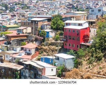 View on Cityscape of historical city Valparaiso, Chile. The colorful houses and hectic street in Valparaiso. It is the most important seaport in Chile.
