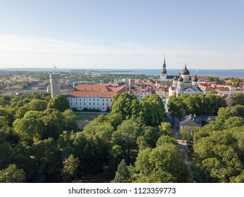 View on cityscape of historical old town of Tallinn