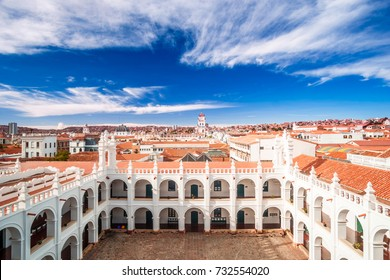 View on Cityscape of Sucre and hisorical colonial buildings in Bolivia