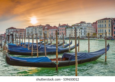 View on classical picture of the Venetian canal with gondolas,Venice,Italy