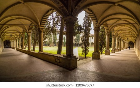 View on the cloister of Santa Maria Novella in Florence. 24 April 2018 Florence, Tuscany - Italy