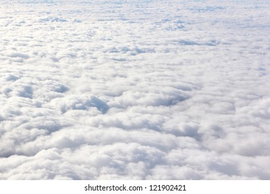 View on clouds from the airplane window