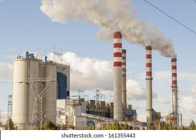 View on coal power plant in Patnow - Konin, Poland, Europe.