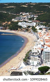 view on the coastal town of Sesimbra, Portugal