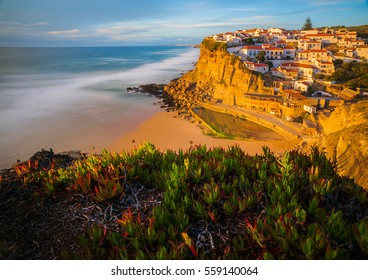View on Colares in Portugal/ Colares/ View point on rocky town Colares in Portugal.
