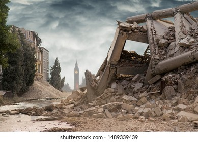 View on a collapsed concrete industrial building with British Parliament behind and dark dramatic sky above. Damaged house. Scene full of debris