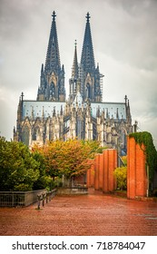 View on Cologne Cathedral at rainy day, Germany