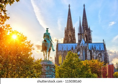 View on Cologne cathedral at sunset