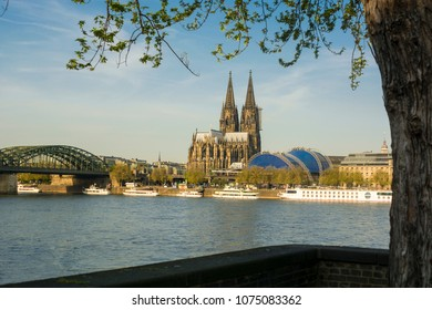 View on Cologne, Germany. Hohenzollern Bridge, Cologne, Dome Church, Musical Dome, Rhine River