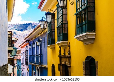 View on colonial buildings by jaen street in La Paz- Bolivia