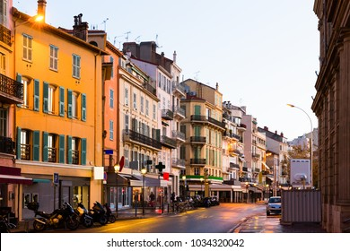 View on colorful streets of Cannes in France outdoors.
