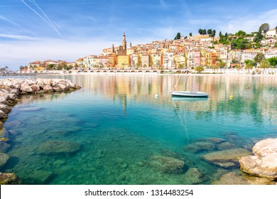 View on colorful town of Menton, Provence-Alpes-Cote d'Azur, France
