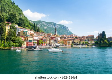 view on colorful town Varenna, Lake como, Italy
