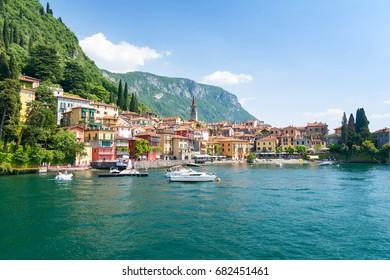 view on colorful town Varenna, Lake como, Italy