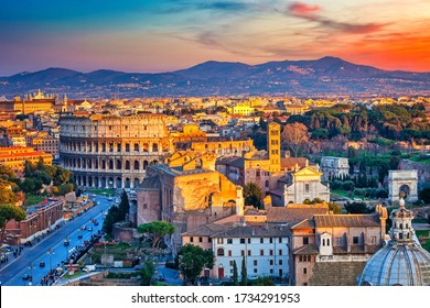 View on Colosseum in Rome at sunset, Italy
