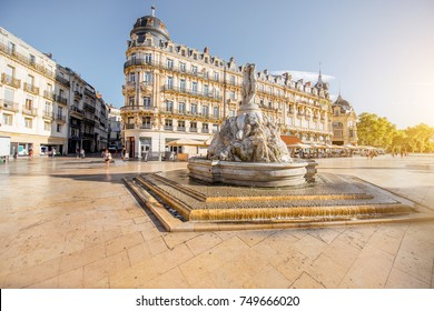 View on the Comedy square with fountain of Three Graces during the morning light in Montpellier city in southern France