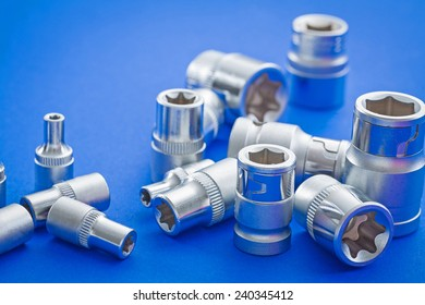 view on composition automobile torx on blue background