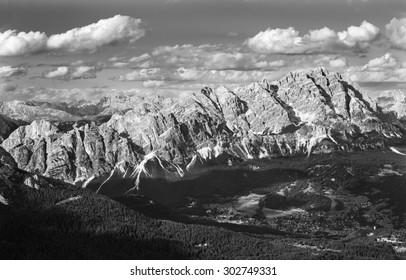 View on Cortina d´Ampezzo under Pomagagnon mountain in Dolomite Alps,Italy