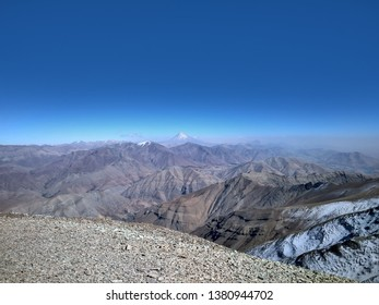 View on Damavand from Alborz mountains over Tehran on Tochal summit