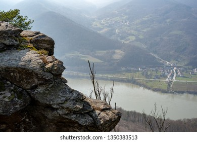 View on the danube river from a mountain top in the Austrian Wachau