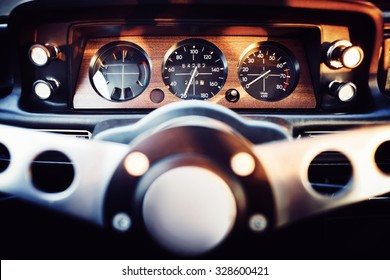 View on a dashboard of a classic 70s car