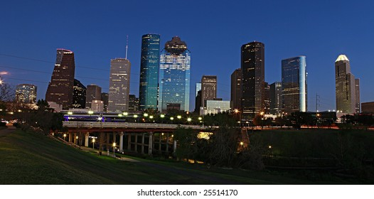 View on downtown Houston from the Bayou