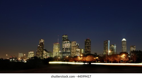 View on Downtown Houston - Dark Night, Texas