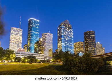 View on downtown Houston in late afternoon with skyscraper